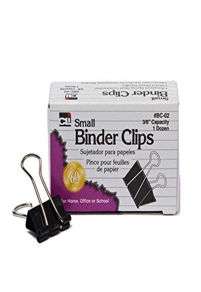 """Binder Clip Chico Ancho 3/8"""" con 12 pzas. Broche caimán tipo binder. Todos los requerimientos de Archivo, Papel y papelería que necesita tu negocio están en CIPAC."""