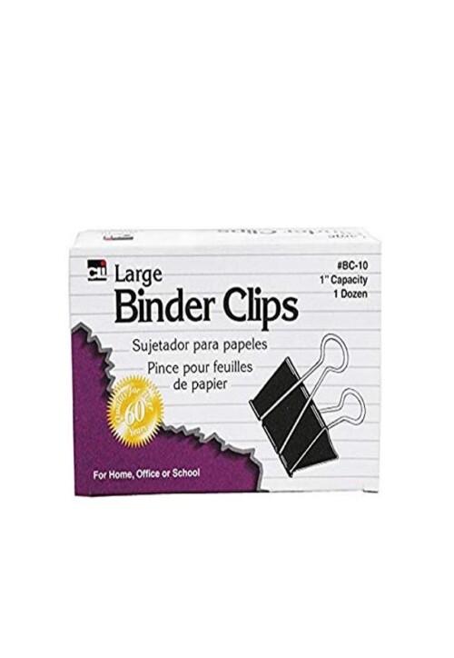 """Binder Clip Grande Ancho Cap 1"""" con 12 Broche caimán tipo binder. Todos los requerimientos de Archivo, Papel y papelería que necesita tu negocio están en CIPAC."""